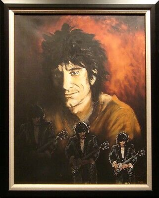 Ronnie Wood Triple Self Portrait on canvas HAND SIGNED custom frame SOLD OUT