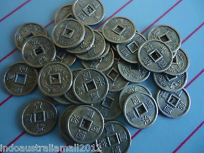 50 PCS Small Antique Bronze Alloy Metal Chinese Fortune Coins 10mm(K062)