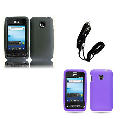 Car Charger + Jelly Silicone Soft Cover Phone Case for LG Optimus 2 AS680