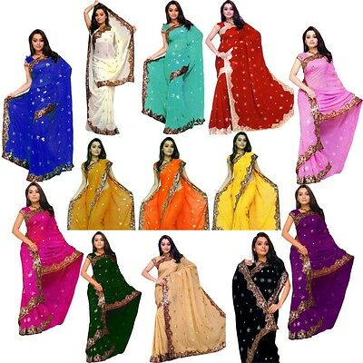 Indian Bollywood Sequin Saree Sari Belly dance Drape Fabric VENTRE DANSE KAFTAN