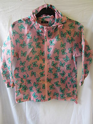 GIRLS RJM PINK AND GREEN BUTTERFLY MAC 100% polyester, Casual, Hooded, In a Bag
