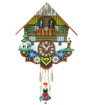 Small minature Black Forest Clock Black Forest House, turning da.. TU 263 SQ NEW