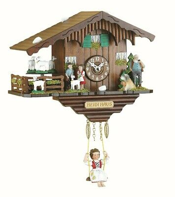 Black Forest Clock Swiss House with turning goats, no cuckoo cal.. TU 281 SQ NEW