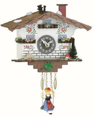Black Forest Clock Swiss House with chimney-sweep  TU 105 SQK NEW