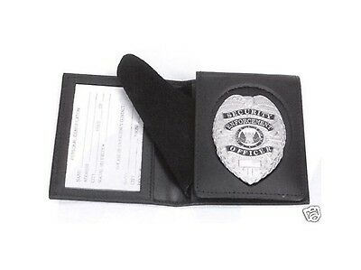 Leather Flip Out Police Sheriff Security Guard Badge Id Case Wallet Shield Cut