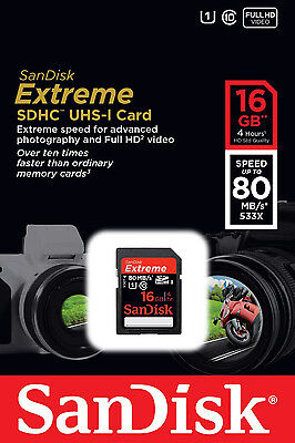*NEW* SanDisk Extreme 16GB SDHC 80 MB/S 533x UHS-1 SD Class 10 Memory Card 16 GB
