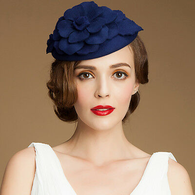 A083 Womens 1950s GATSBY Style Fascinator Wool Cocktail Hat Beret Race Wedding