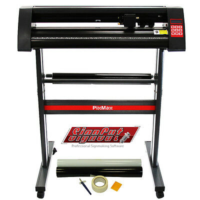 "Vinyl Cutter Plotter 720mm PixMax 28"" Cutting SignCut Pro Software & Weeding Kit"