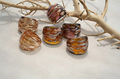 Glas Ring Murano Bandring Rotgold /Silber / farbig individuelle Muster MG 3