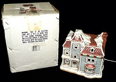 Vtg Lefton Colonial Village The Nob Hill Ceramic Lighted House #07337 Christmas