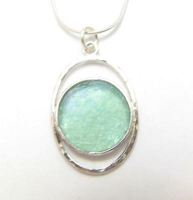Ancient Roman Glass 925 Silver Ellipse Pendant Necklace