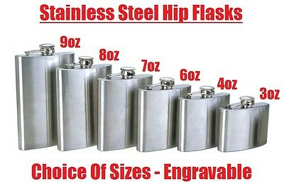 Hip Flask Plain Stainless Steel Whiskey Pocket Flask Gift Engravable 3oz - 8oz