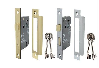 FIRE RATED 3 LEVER MORTICE INTERNAL SASH DOOR LOCK 2.5 INCH brass&Chrome plate
