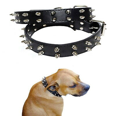 Dog Collar Spiked S M Large Breed Black Leather 3cm - Staffy Stud Studded Spike