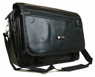 "High Quality Faux Leather 15"" 17"" Business Briefcase Laptop Work Carry Case Bag"