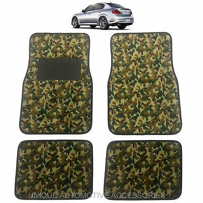 New Premium Green Camo Camouflage Design Carpet Floor Mats Set For Cars 10063