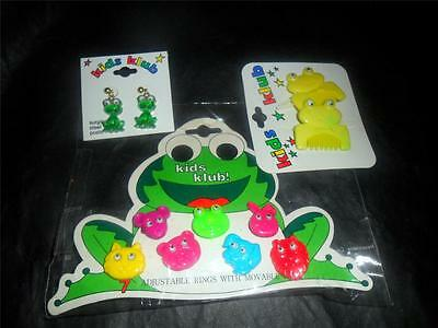 Fun Lot Kids Klub Frog Earrings Barrettes & 7 Adjustable Rings w/Moving Eyes CD
