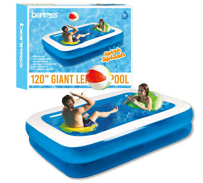 Bestway Large Delux Rectangular Inflatable Swimming Pool Family Paddling 850L