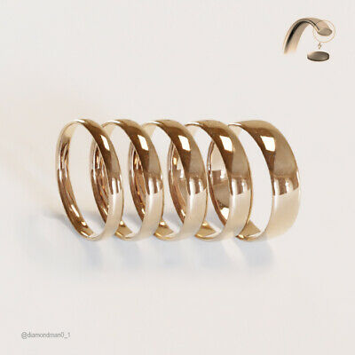 Brand New Hallmarked 9ct Rose Gold Wedding Ring Band Court Profile