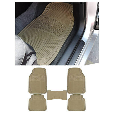5pc MD. Car Beige Tan Front & Rear w/ Center Utility Rubber Floor Mats Set