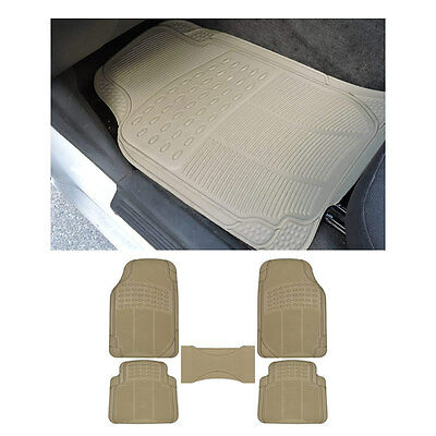 5pc MD. SUV Beige Tan Front & Rear w/ Center Utility Rubber Floor Mats Set