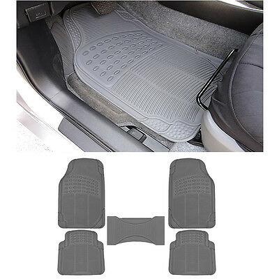 5pc MD. Car Gray Grey Front & Rear w/ Center Utility Rubber Floor Mats Set