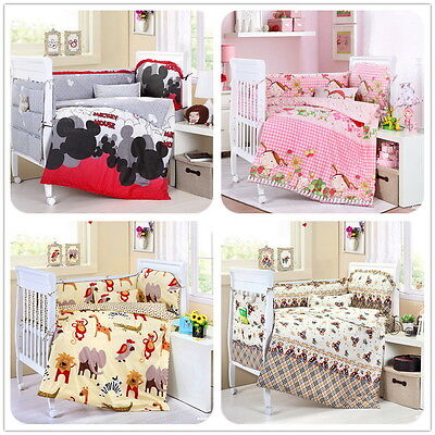Cartoon Baby Bedding Set Crib Cot Quilt Sets Lovely Theme Cot Bumper 15 Pieces
