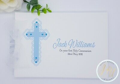 Personalised Pink - Blue - First Holy Communion *christening* Baptism Guest Book