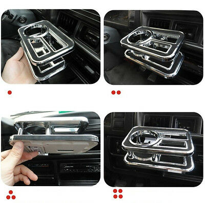 Silver Brim Black Car Table Cup Drink Holder Use For Car Air-conditioning Outlet