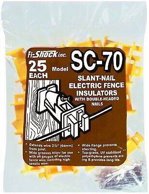 Fi-Shock SC-70 Yellow Slant-nail Wood Post Insulators, 25-Per Bag