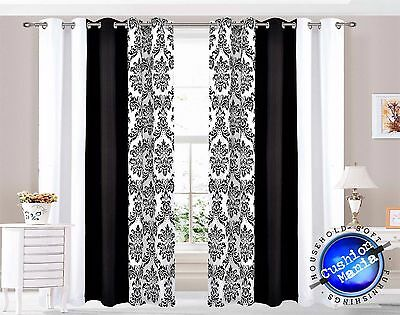 Curtains Eyelet Ring Top Ready Made Lined Fully Pair Black white damask 3 tone