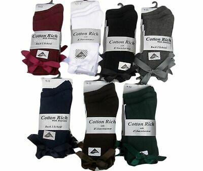 3 Pairs Girls Shoe Size 4-6  75% Cotton School / Dress Bow Ankle Socks
