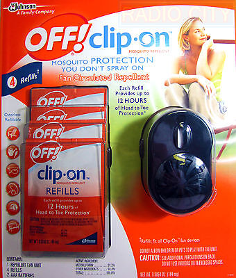 Off! Clip-On Refillable Mosquito Repellent Fan w/ Batteries & 4 Refills - BLACK