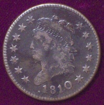 1810 over 09 10/9 Clear Overdate VF CLASSIC HEAD LARGE CENT S-281 US Colonial
