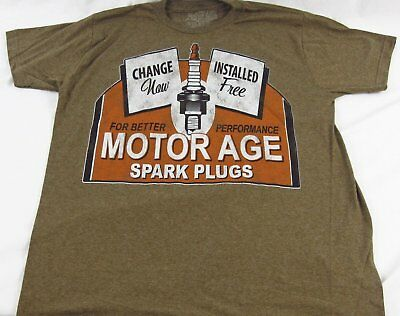 Mens NEW Motor Age Short Sleeve Brown Spark PlugT Shirt Size M L XL 2X