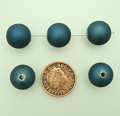 45 navy blue acrylic round rubber effect beads jewellery making 13.5mm x 13.5mm
