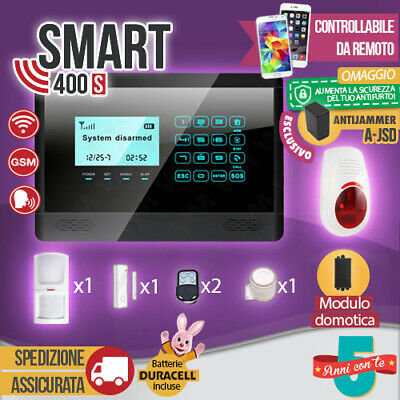 Kit Antifurto Casa Allarme Touch Screen Combinatore Gsm / App Wireless Smart400S