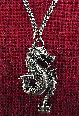 Celtic Dragon Drakkar Viking Medieval Pendragon SCA Silver Pewter Necklace
