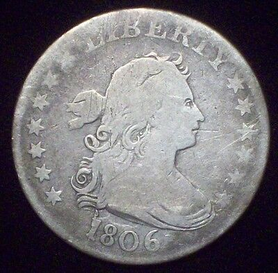 1806 Bust QUARTER SILVER US Authentic B-9a Cracked Obverse Die F+ Detailing 25C