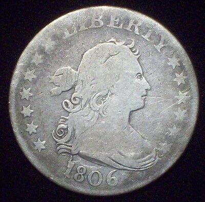 1806 Bust Quarter DOLLAR SILVER US Authentic B-9a Cracked Obverse Die F+ DETAIL