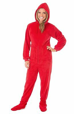BIG FEET PJS - Red and Black with Gray Hearts Adult Footed Pajamas ... eda1952b7