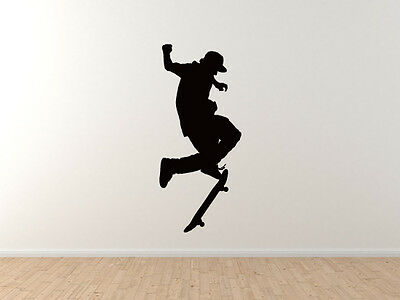 Skateboard Trick #2- Skate Shop Art Kickflip Board Spin - Vinyl Wall Decal