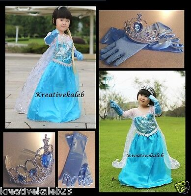 IN STOCK Frozen Elsa Dress Up Gown Costume Ice Princess Queen Anna Size 7-8 (L)