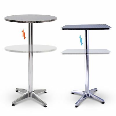 HOMCOM Bistro Bar Table Stainless Steel Top Adjustment Height Home Pub Patio