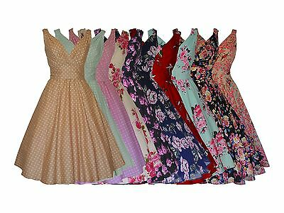 VINTAGE RETRO FIFTIES 50's STYLE FULL CIRCLE FLARED DRESS CHOOSE PRINT  8 - 28