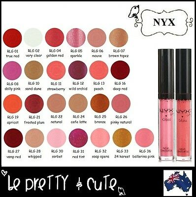 NYX Round Lip Gloss RLG Ballerina Pink Natural Red Peach Mauve Clear Nude Pick 1