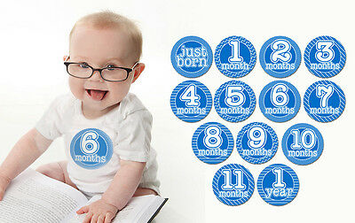 BOY - BLUE Monthly T-Shirt Stickers Baby Shower Gift put on belly every month