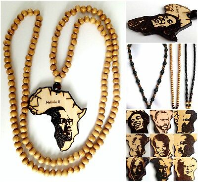 "Ethnic Inspired: Handmade 18-42"" Black Chain Africa Map Wooden Pendant Necklace"