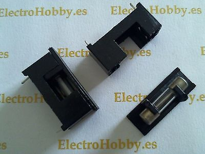 2x Portafusible 5x20 circuito impreso con tapa - Fuse holder - Porta fusible