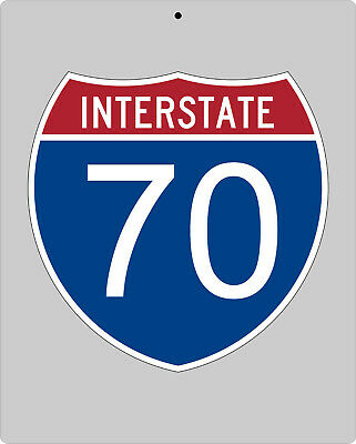 I-70 metal Interstate highway sign - Indianapolis to St. Louis to KC to Denver